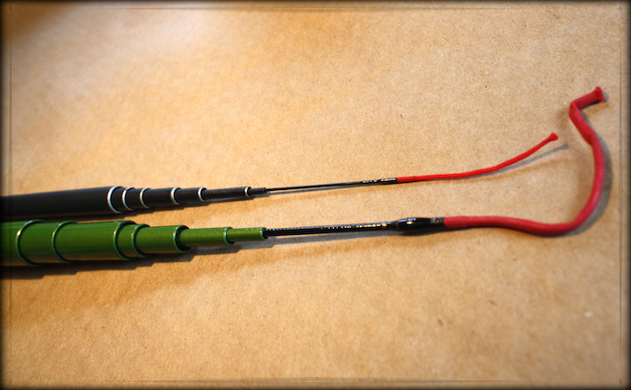 The tip and lilian of the Kyojin vs. that of a typical tenkara rod
